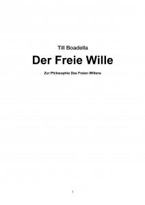 Zur Philosophie Des Freien Willens